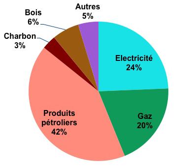 rpartition par type dnergie de la consommation dnergie finale celle qui est facture au client en france en 2012 - Consommation Electrique D Une Maison